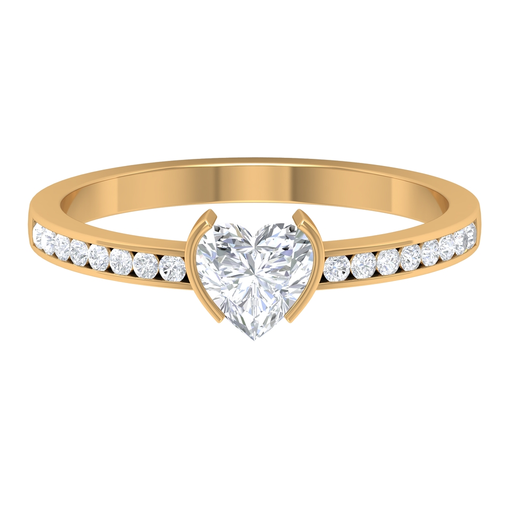 3/4 CT Heart Diamond Solitaire Ring in Half Bezel Setting with Channel Set Side Stones