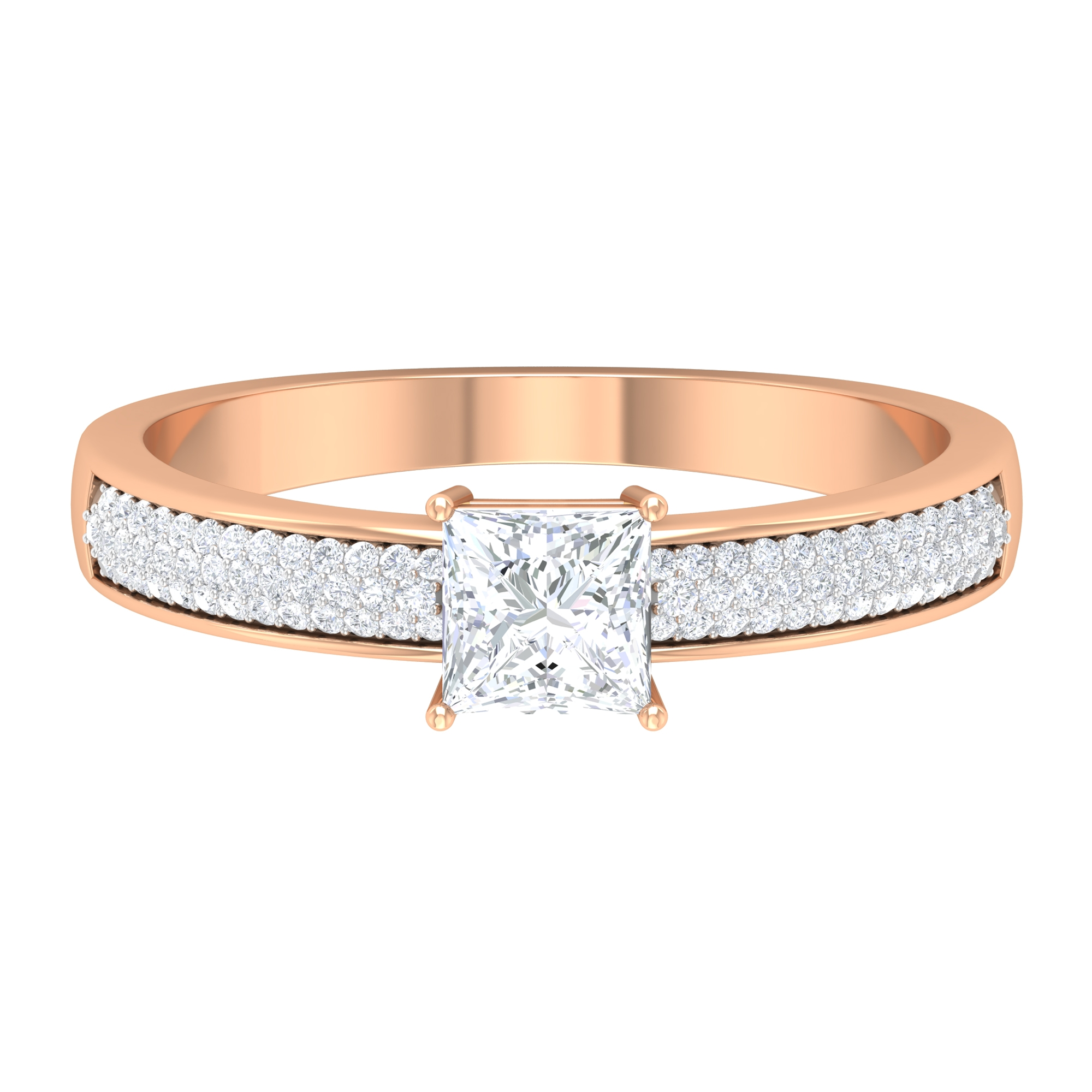 3/4 CT Princess Cut Diamond Solitaire Ring with Side Stones in 4 Prong Setting