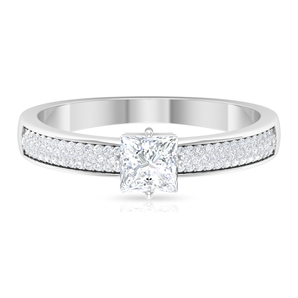 3/4 CT Princess Cut Diamond Solitaire Ring in 4 Prong Diagonal Setting with Side Stones