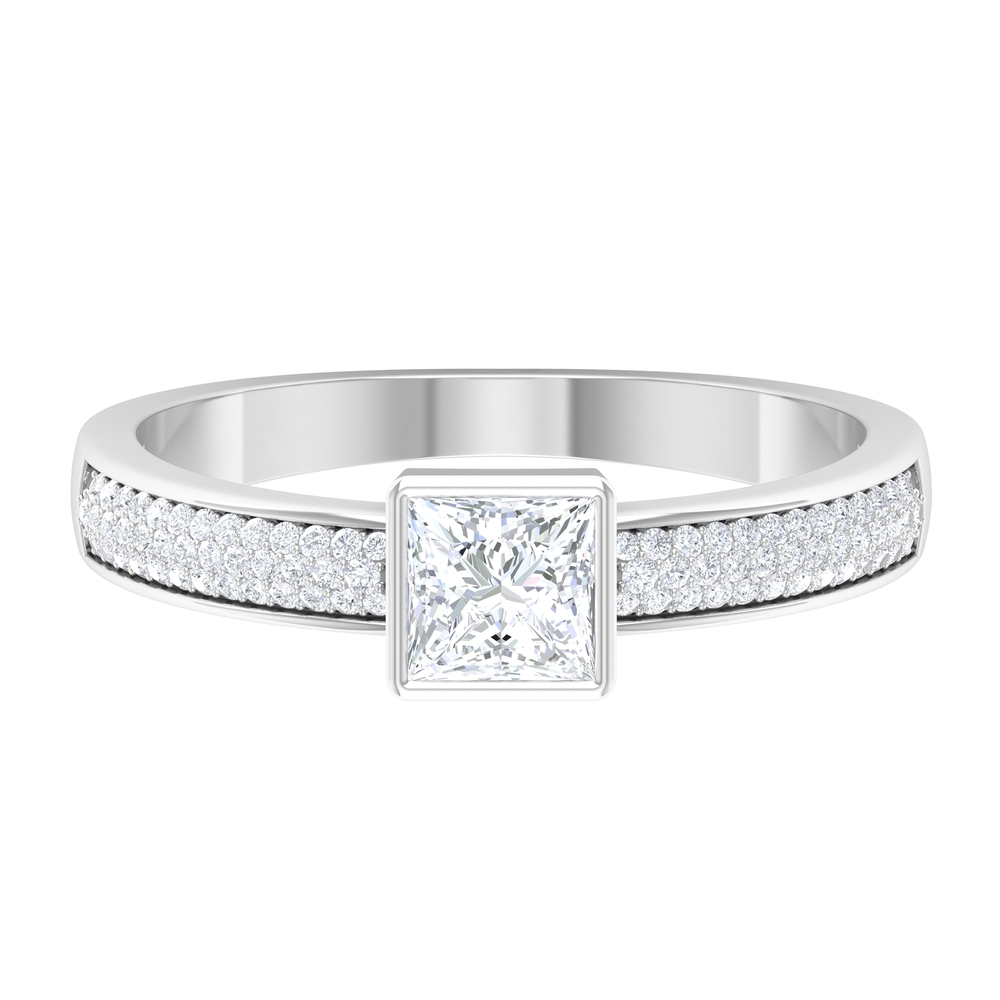 3/4 CT Princess Cut Solitaire Diamond Ring in Bezel Setting with Side Stones