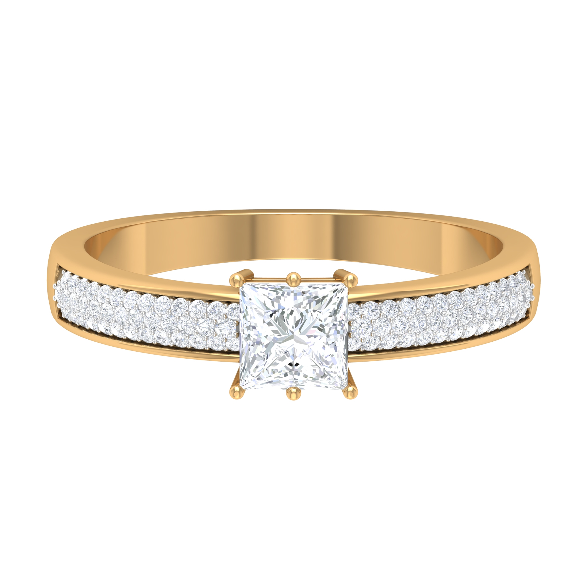 4.5 MM Princess Cut Solitaire Diamond Ring in 6 Prong Setting with Side Stones