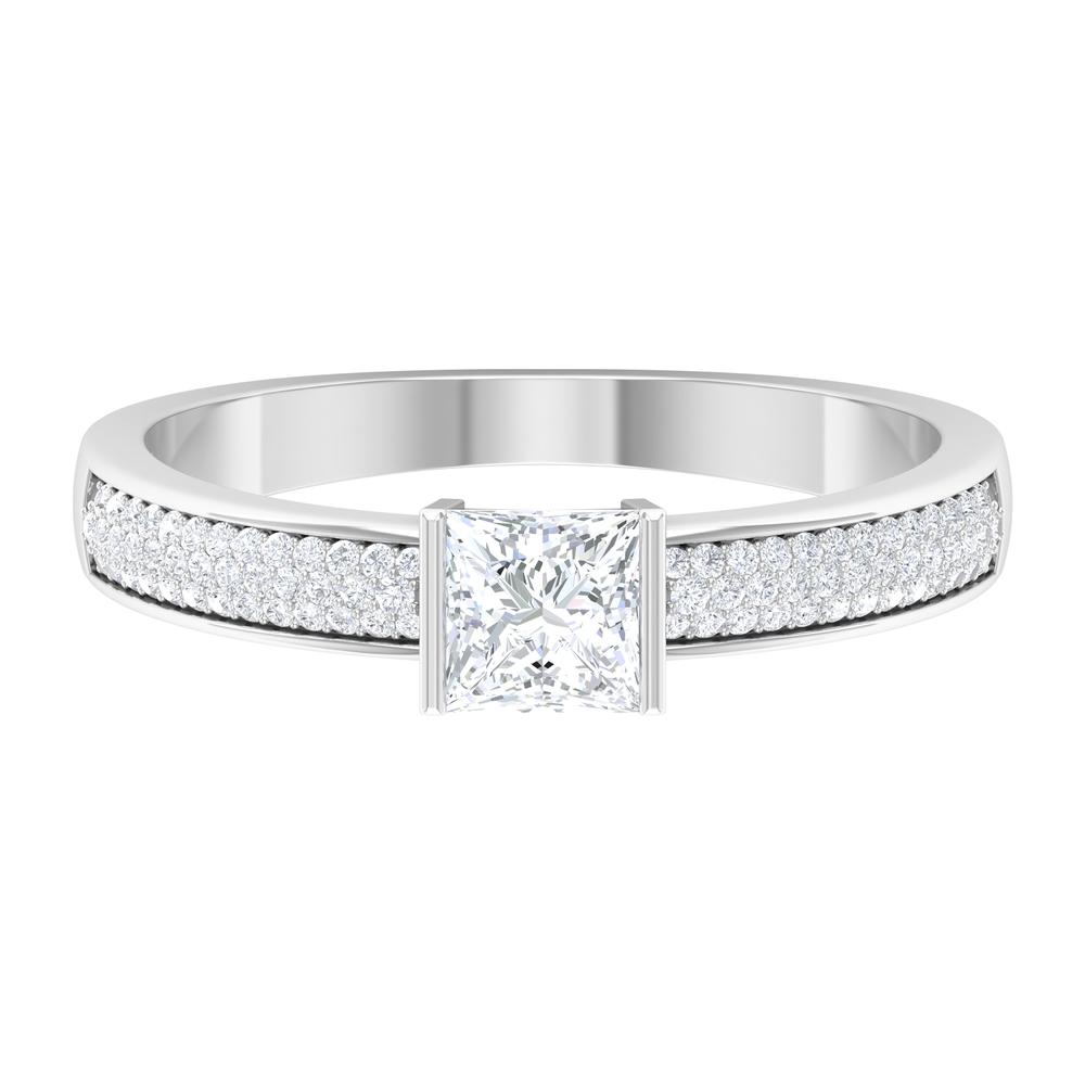 4.5X4.5 MM Princess Cut Diamond Solitaire Ring in Bar Setting with Side Stones