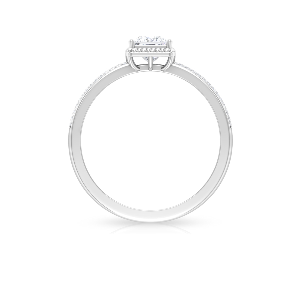 3/4 CT Rope Frame Solitaire Diamond with Pave Set Side Stones
