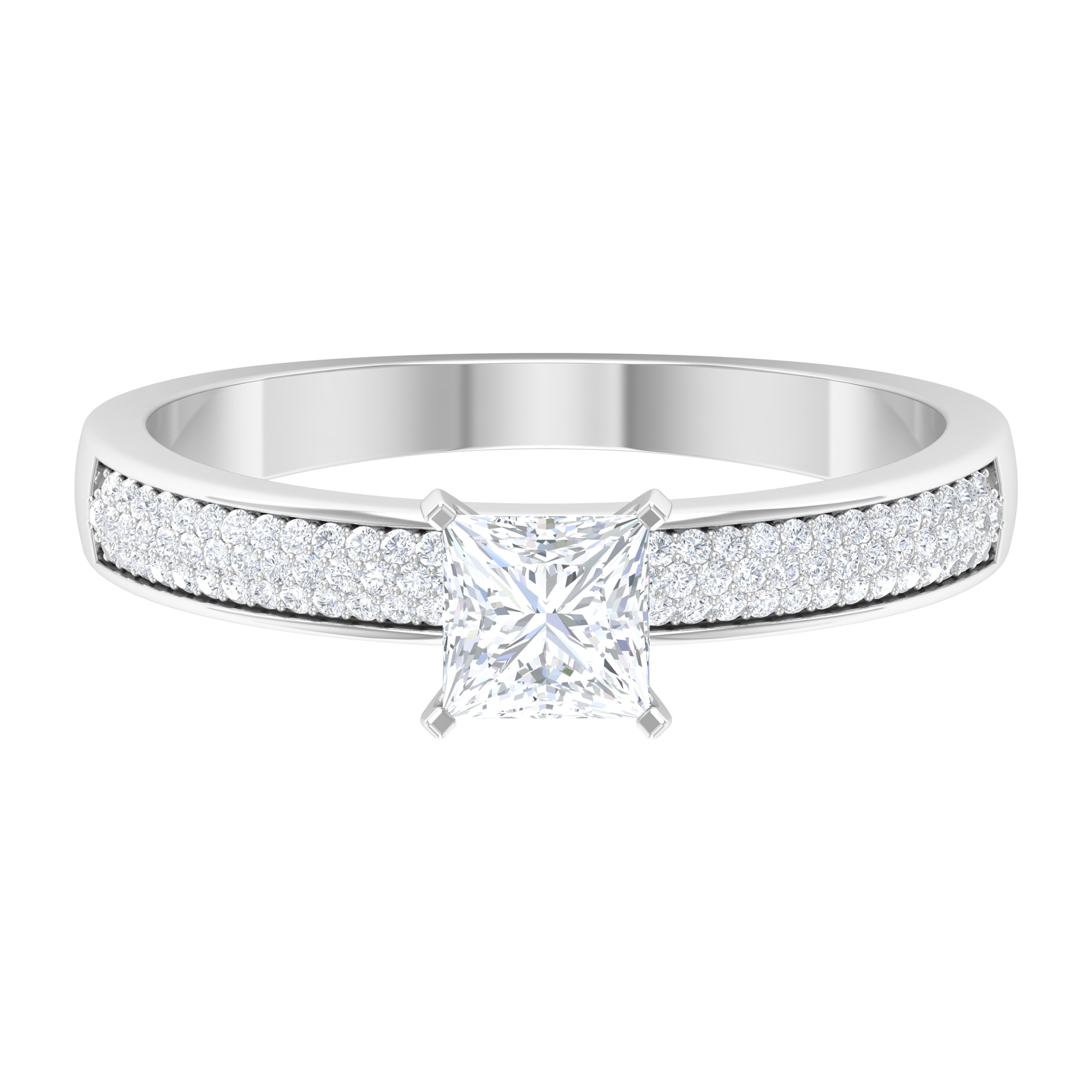 4.5X4.5 MM Princess Cut Diamond Solitaire Ring with Side Stones in 4 Prong Setting For Women