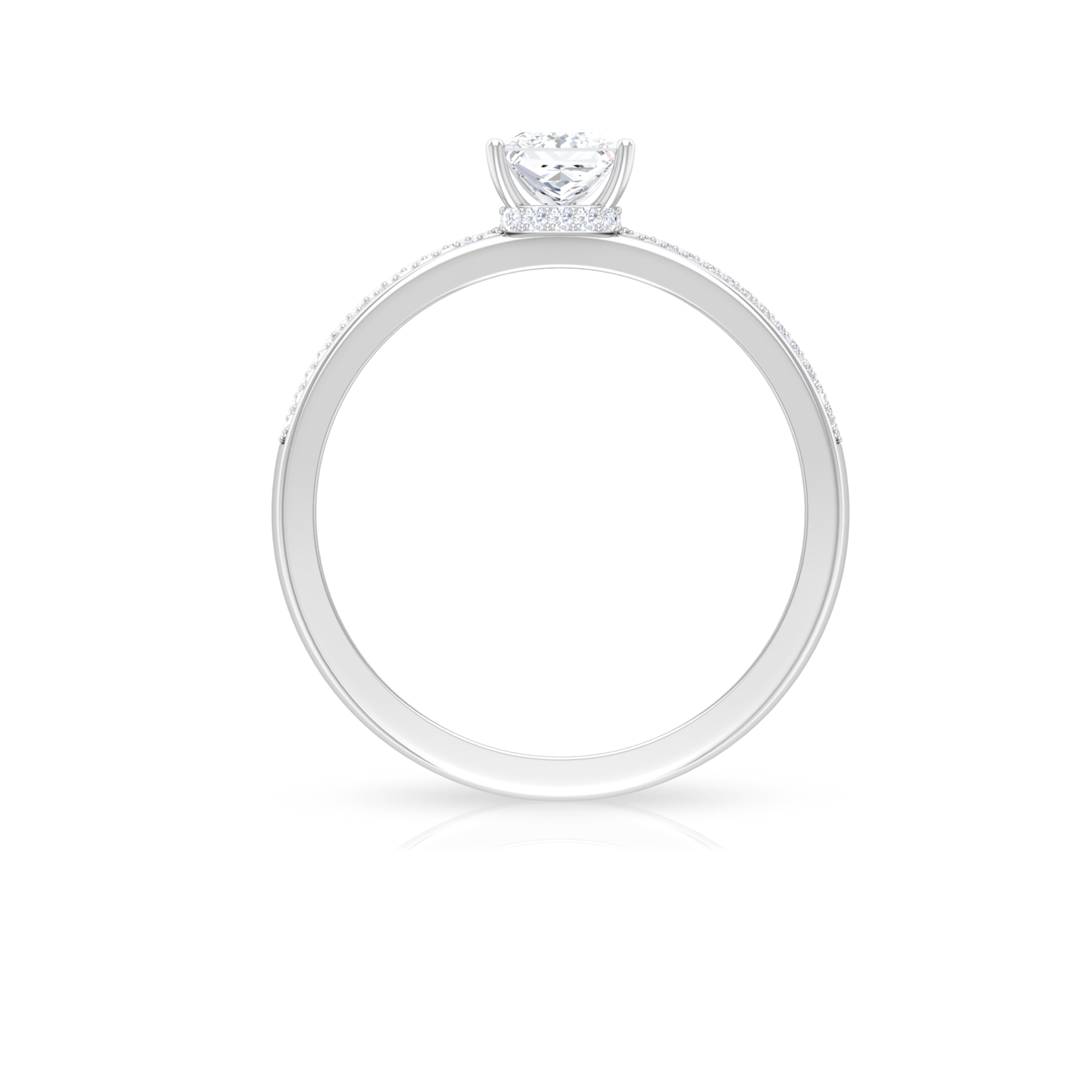 3/4 CT Solitaire Diamond Ring with Hidden Halo and Pave Set Side Stones