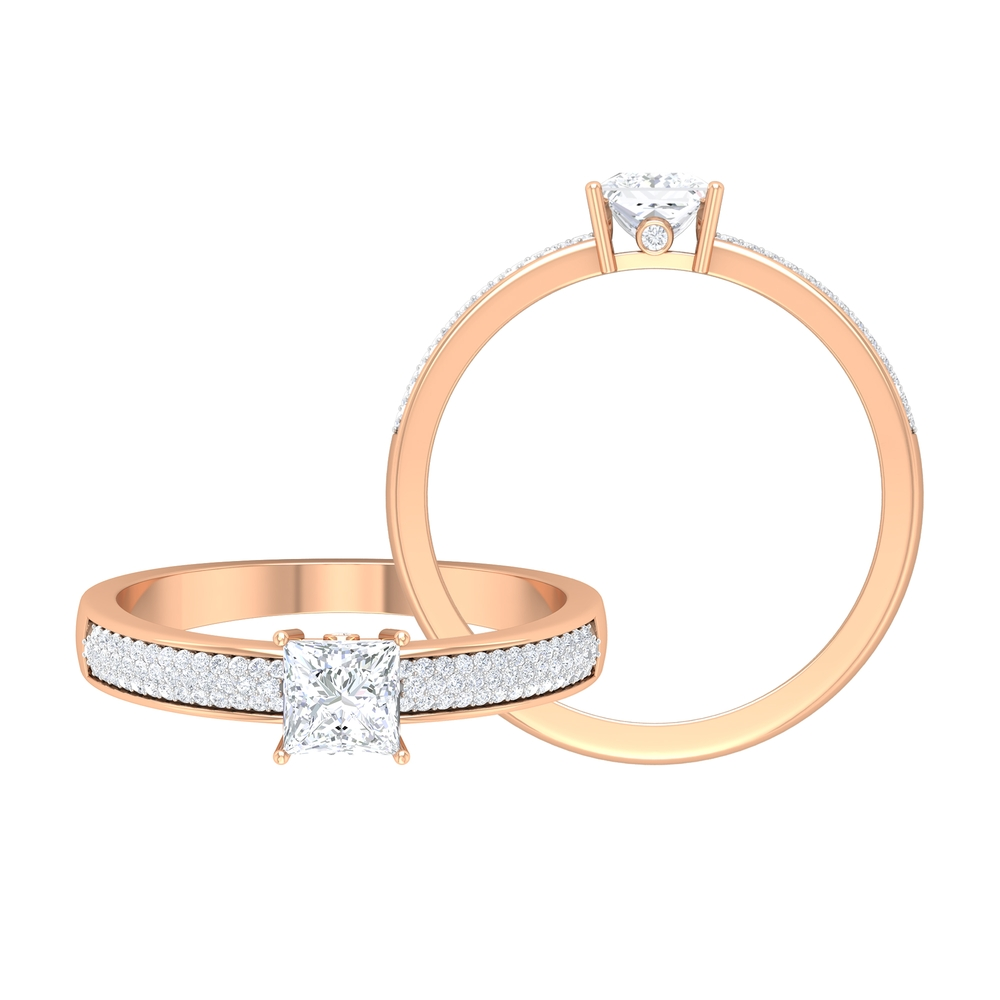 3/4 CT Solitaire Diamond Ring with Hidden Shank and Pave Set Side Stones