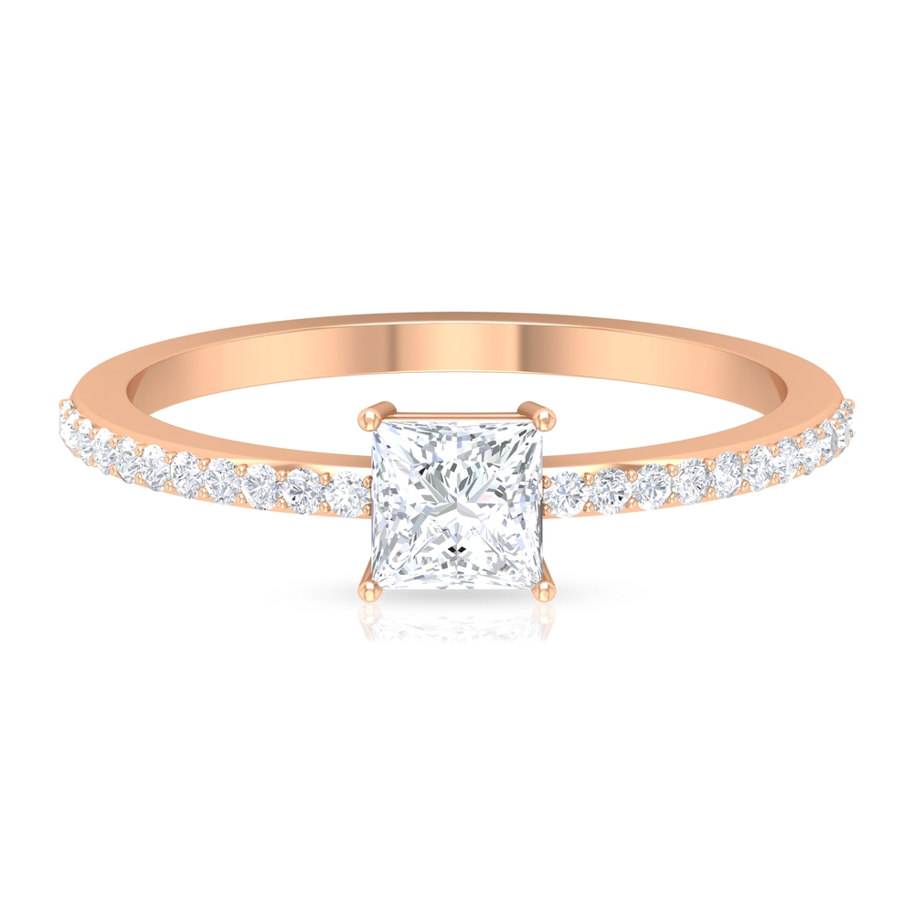 4.5X4.5 MM Princess Cut Solitaire Diamond Ring in 4 Prong Setting with Side Stones