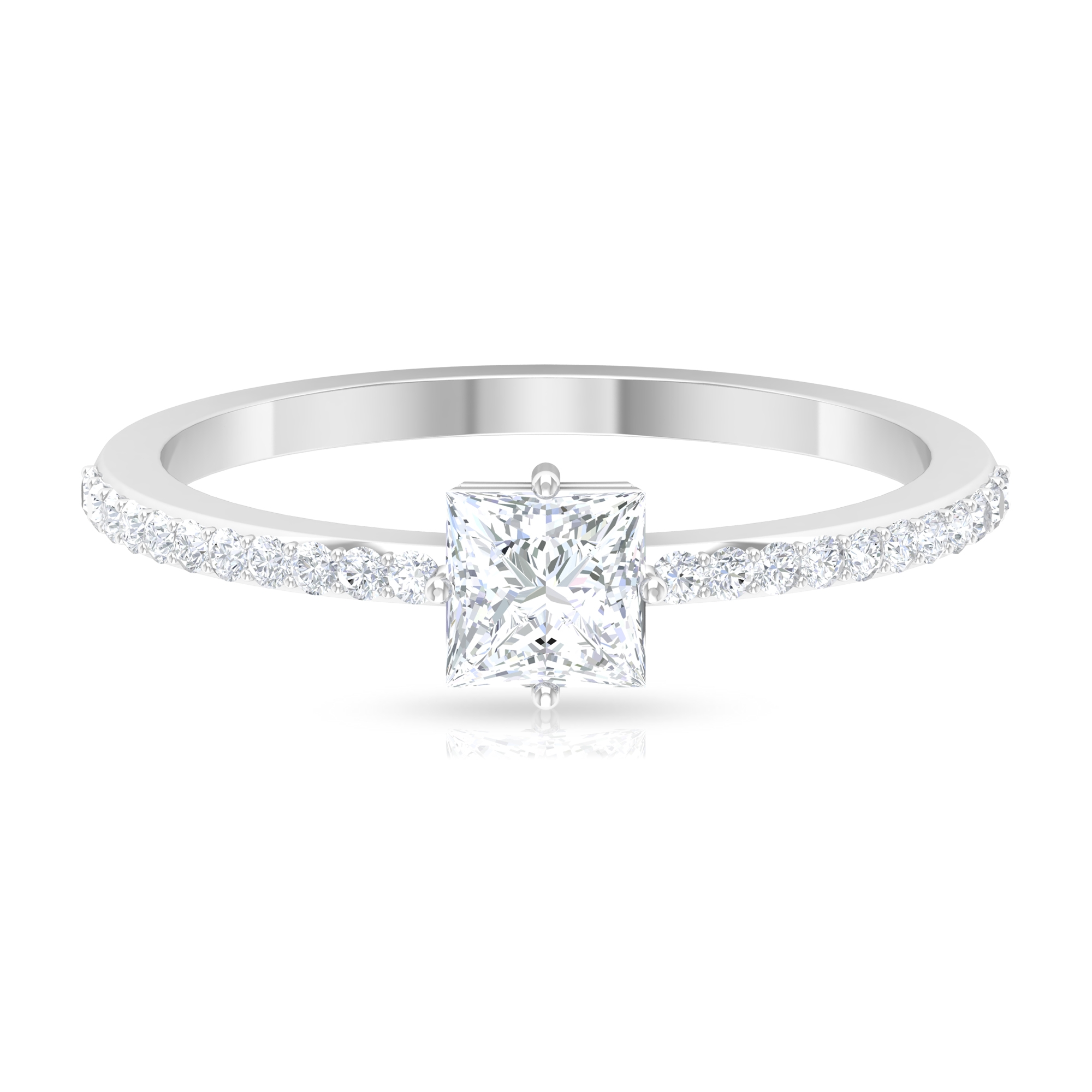 4.5X4.5 MM Princess Cut Solitaire Diamond Ring in 4 Prong Diagonal Setting with Side Stones