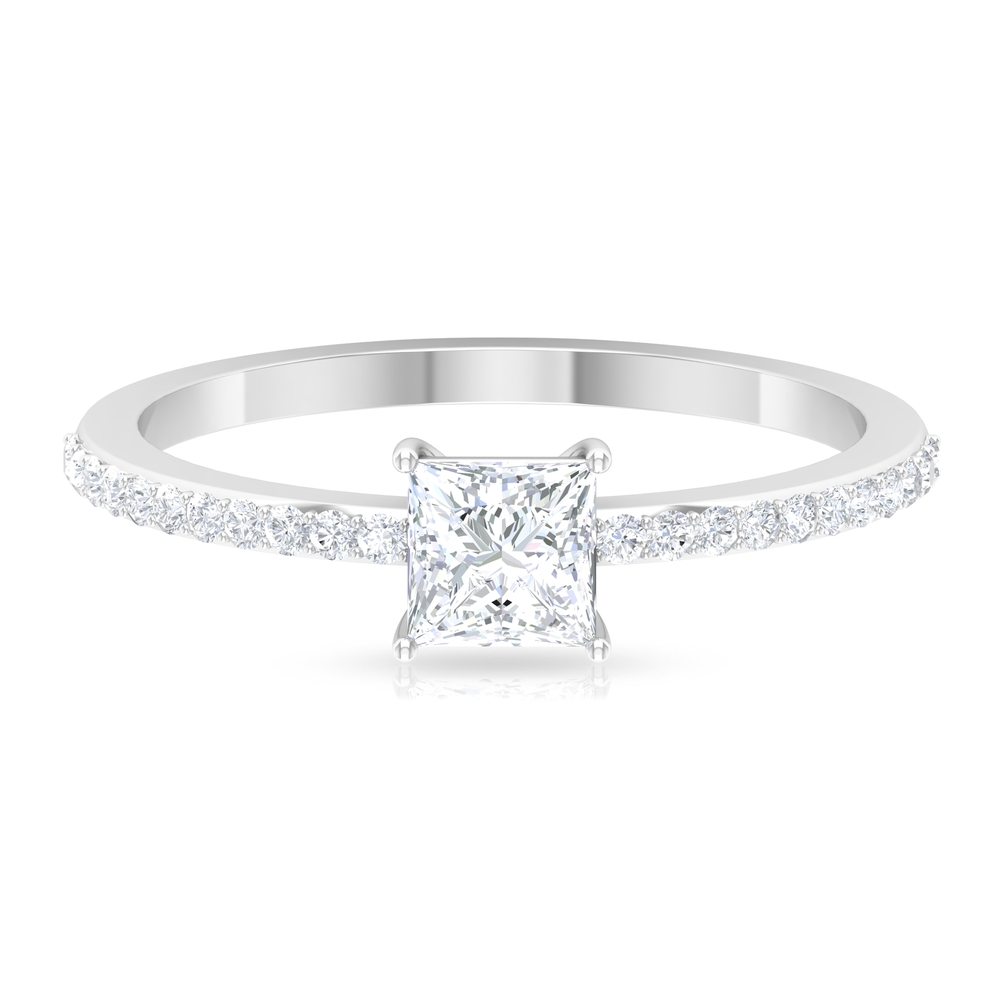 3/4 CT Princess Cut Diamond Solitaire Ring in Basket Setting with Surface Prong Set Diamond