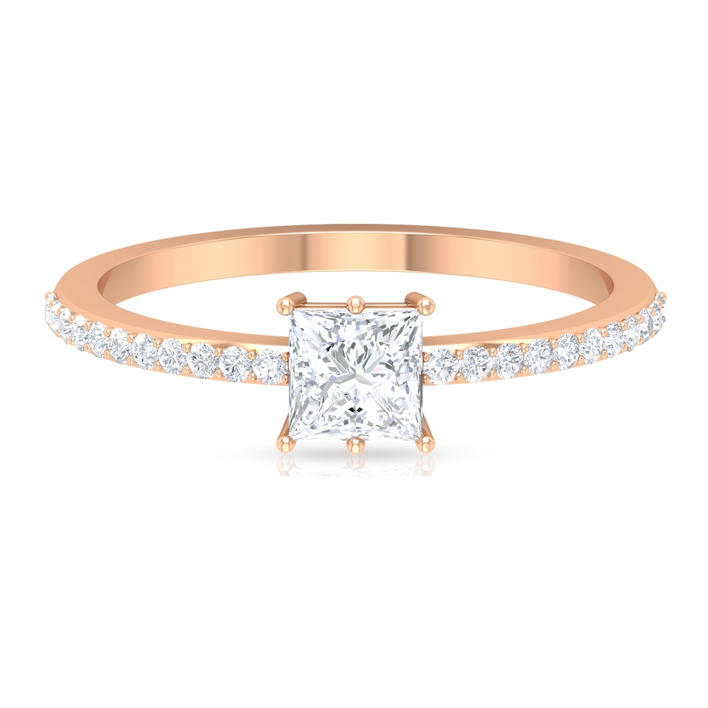 4.5X4.5 MM Princess Cut Solitaire Diamond Ring with Side Stones in 6 Prong Setting