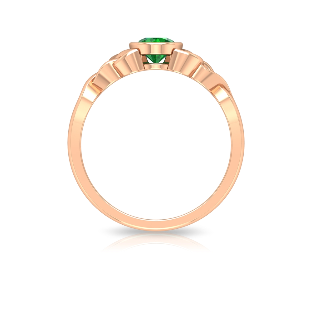 5 MM Round Shape Emerald Solitaire Ring in Bezel Setting with Celtic Shank