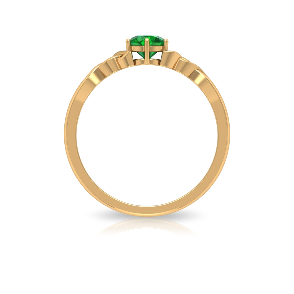5 MM Round Shape Emerald Solitaire Ring in Six Prong Setting with Celtic Shank