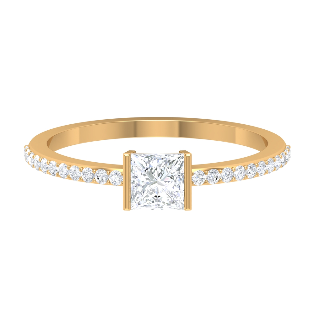 3/4 CT Diamond Solitaire Ring with Surface Prong Set and Bar Set Diamond