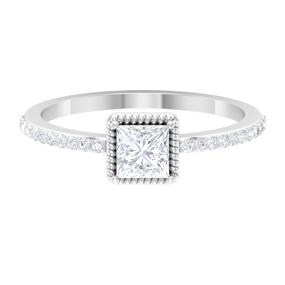 3/4 CT Rope Frame Solitaire Diamond with Surface Prong Setting Side Stones