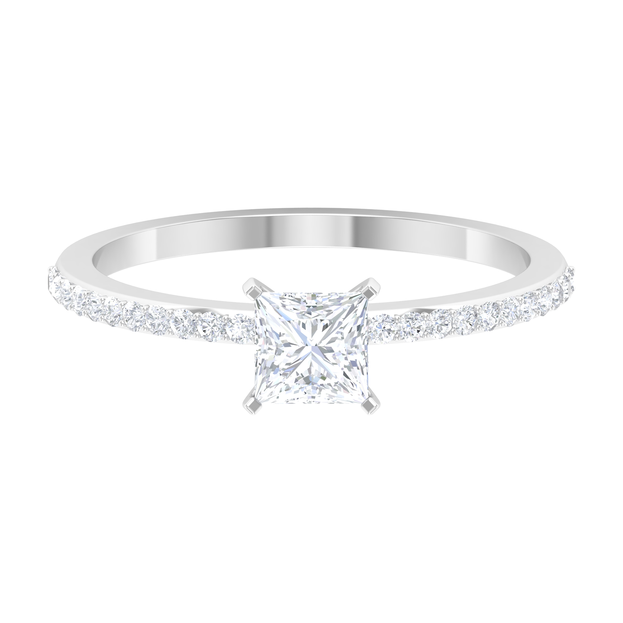 3/4 CT Peg Head Setting Diamond Solitaire Ring with Surface Prong Set Diamond