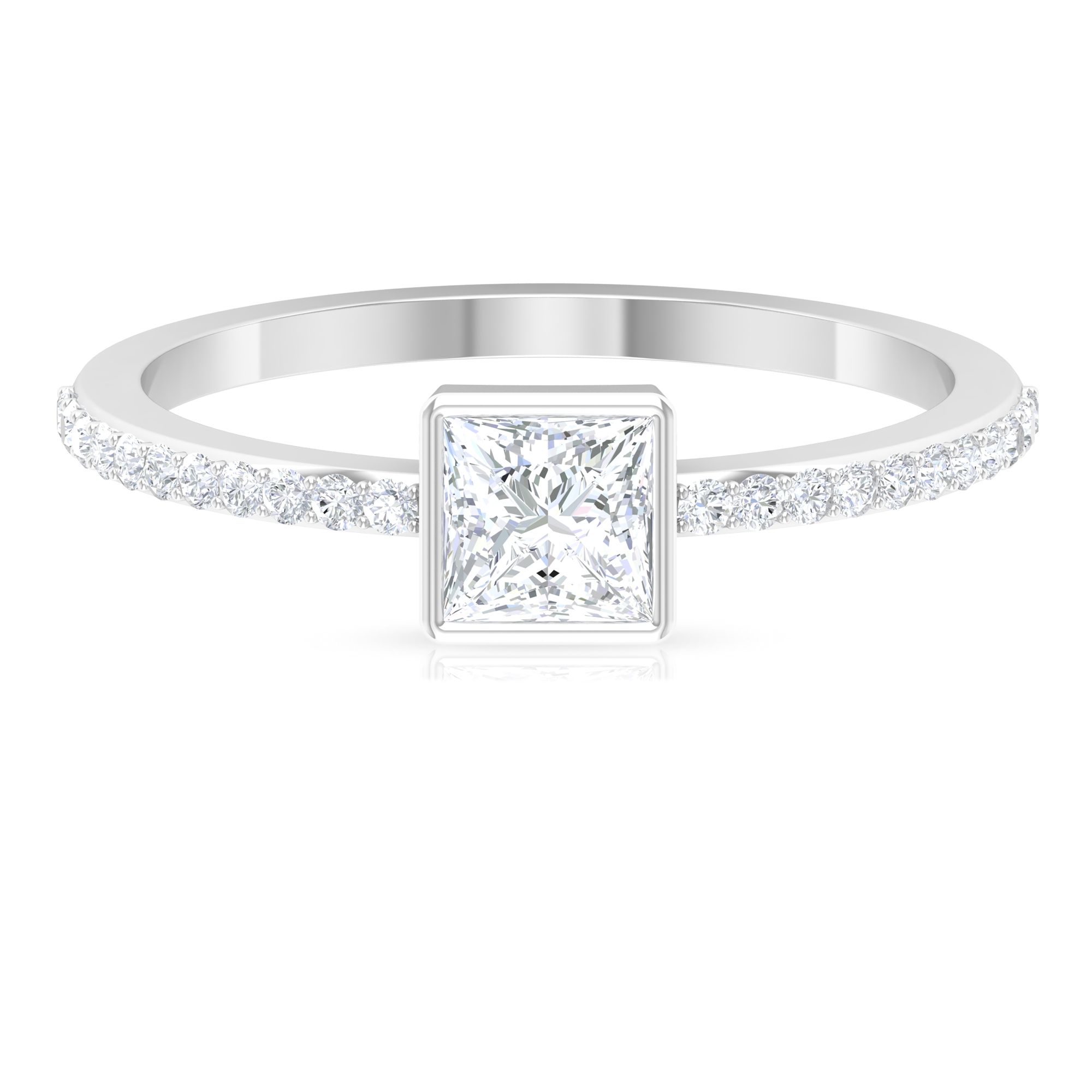 3/4 CT Diamond Solitaire Ring in Bezel Setting with Surface Prong Set Diamond