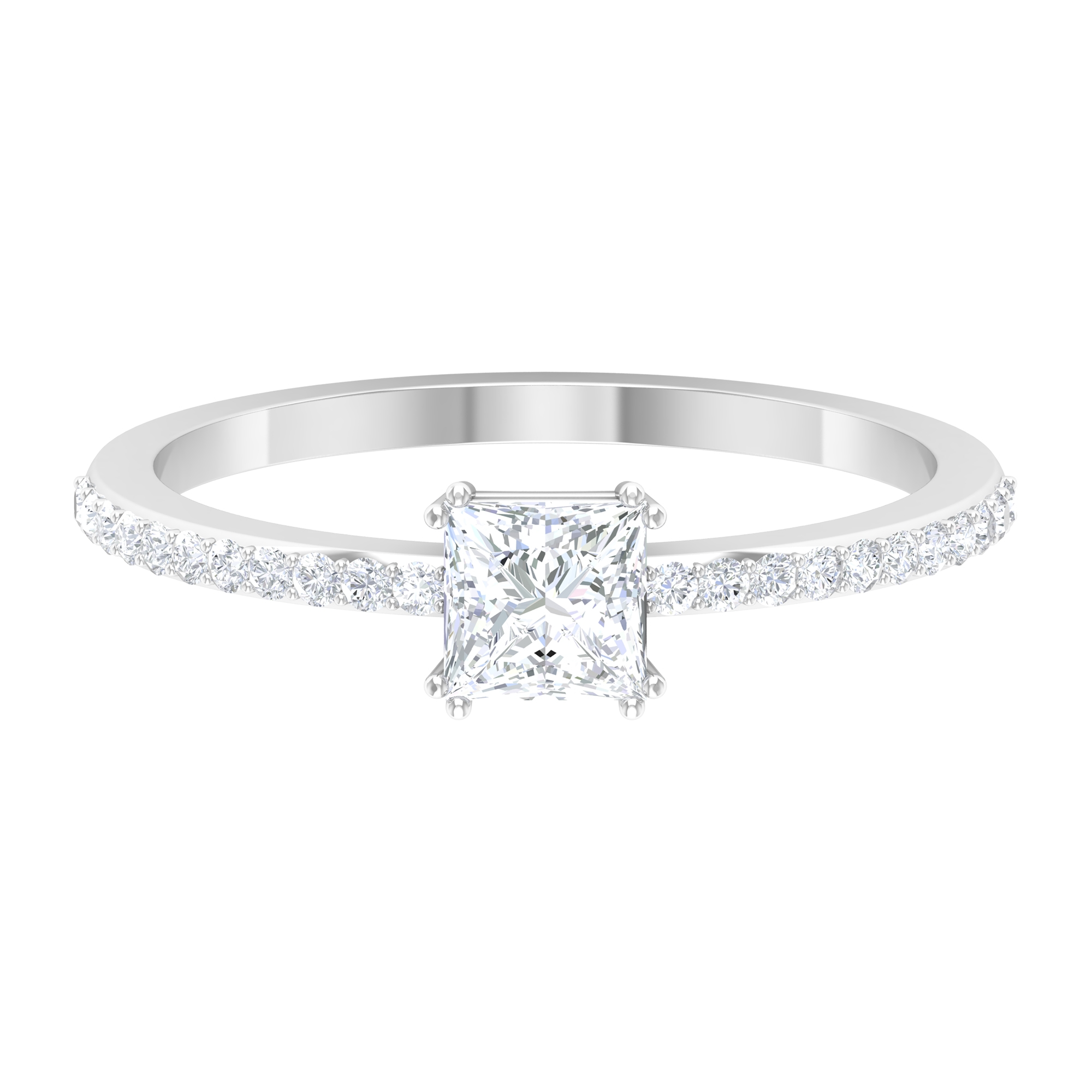 3/4 CT Diamond Solitaire Ring in Double Prong Setting with Surface Prong Set Diamond