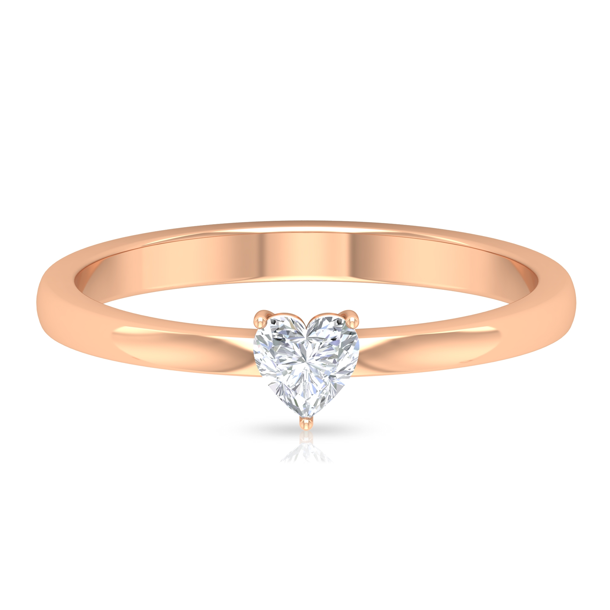 4 MM Heart Diamond Solitaire Ring in Three Prong Setting