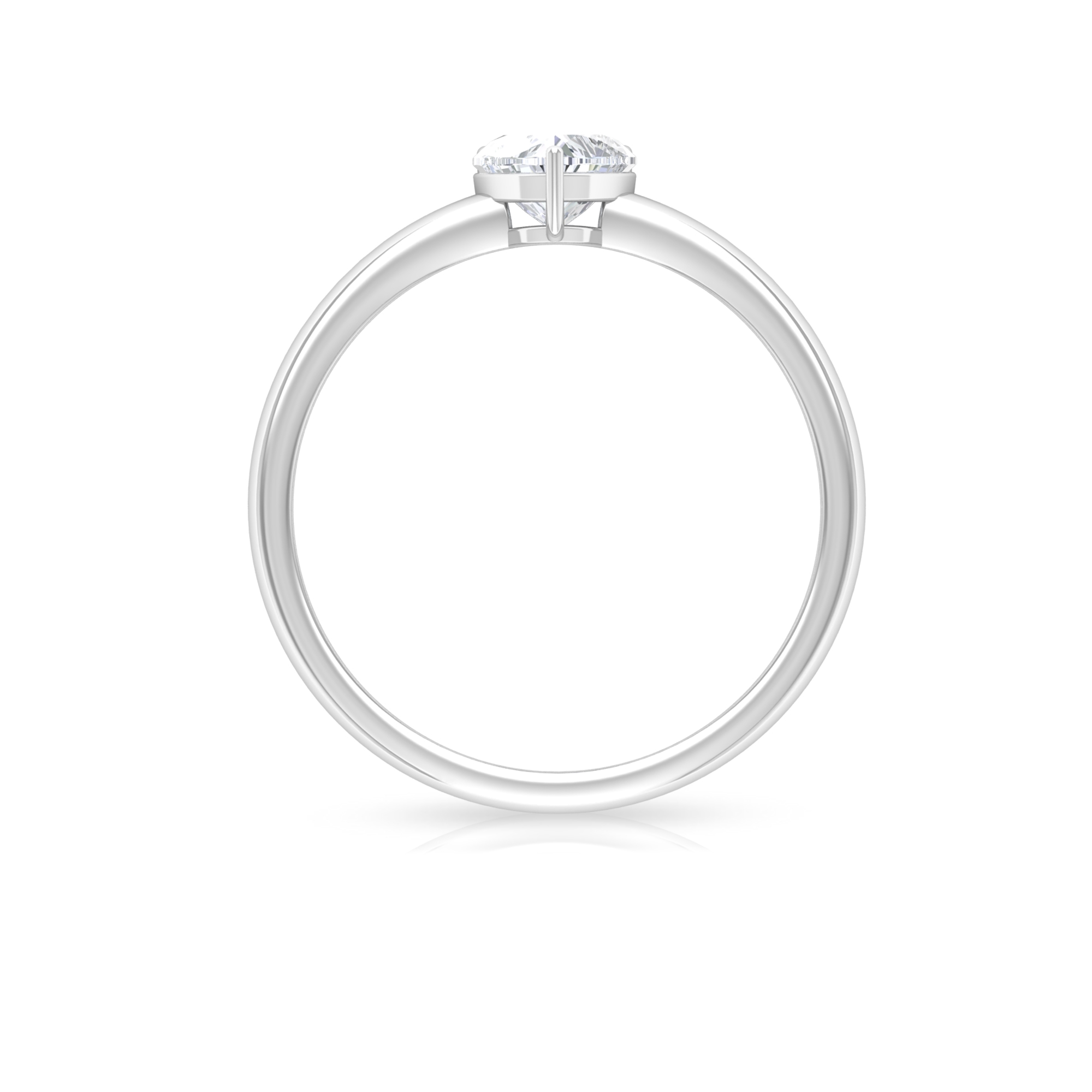 5.40 MM Heart Shape Diamond Solitaire Ring in 3 Prong Setting