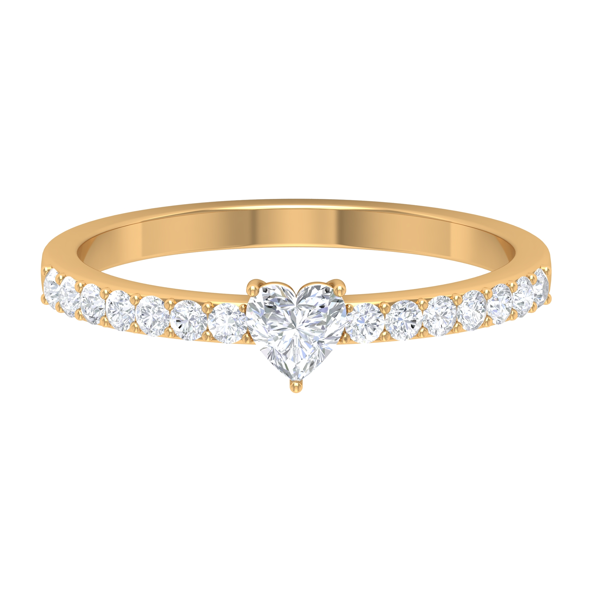 4X4 MM Heart Shape Diamond Promise Ring in Prong Setting with Side Stones