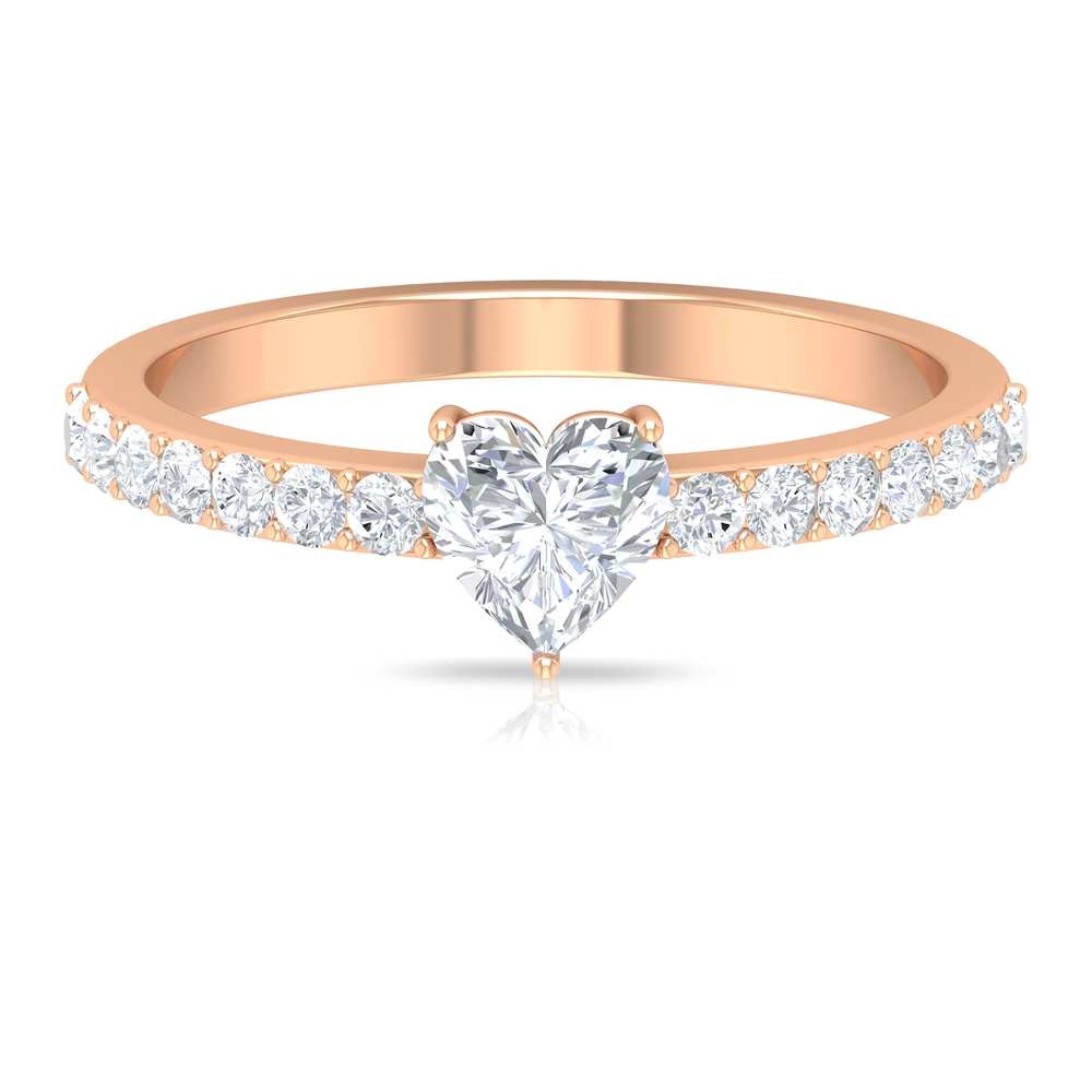 3/4 CT Heart Shape Solitaire Diamond Engagement Ring with Side Stones in Prong Setting
