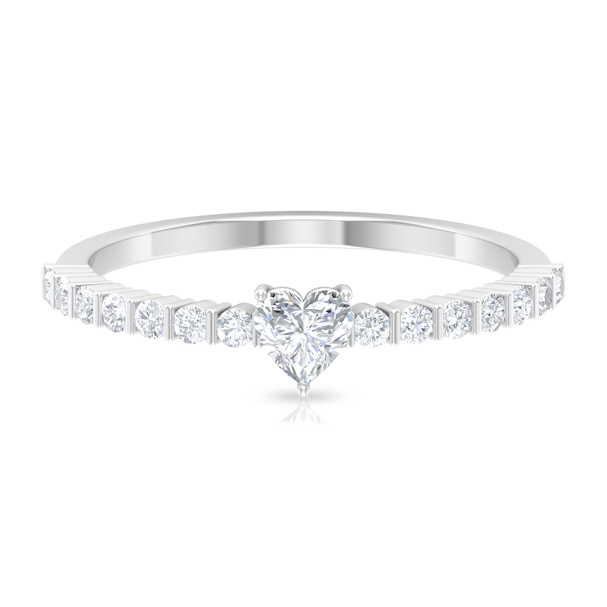 1/2 CT Heart Shape Solitaire Diamond Engagement Ring in 3 Prong Setting with Bar Set Side Stones