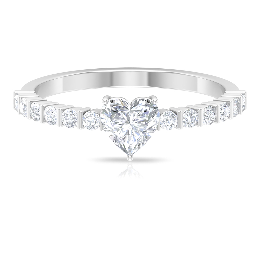 3/4 CT Heart Shape Diamond Solitaire Ring in 3 Prong Setting with Side Stones