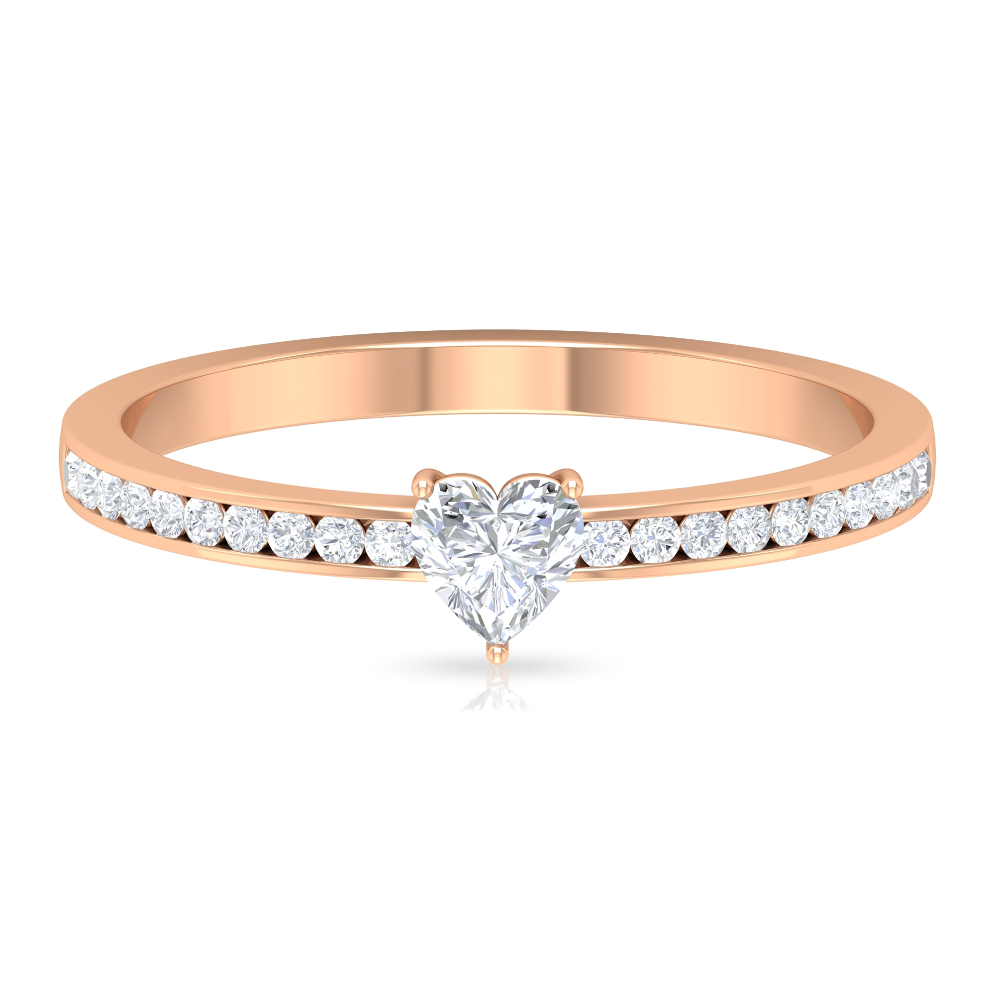 1/2 CT Two Prong Set Solitaire Diamond Ring with Channel Set Side Stones