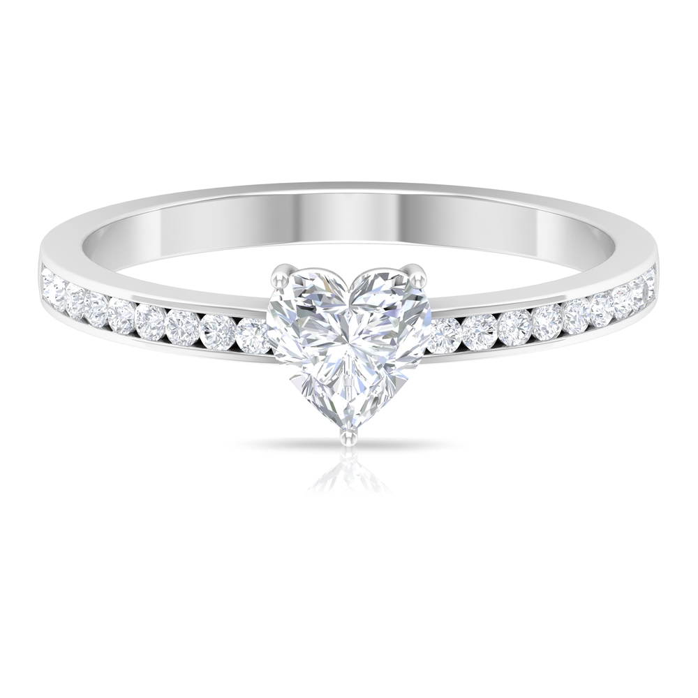 3/4 CT Solitaire Diamond Ring in 3 Prong Setting with Side Stones