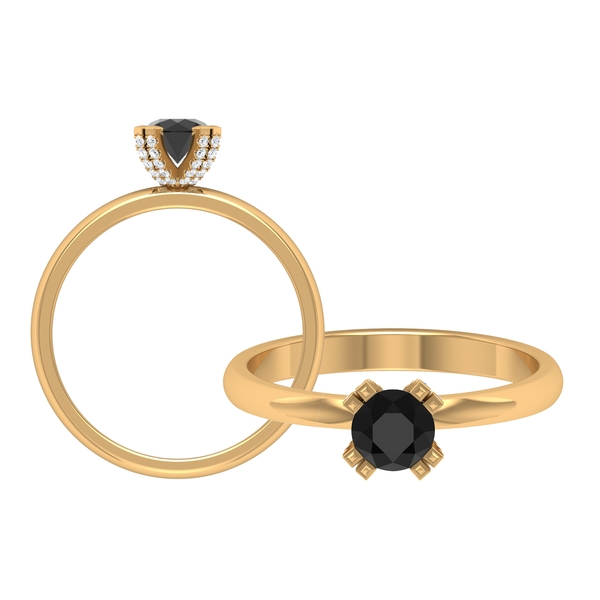 3/4 CT Black Diamond Solitaire Engagement Ring in Double Prong Setting with White Diamond