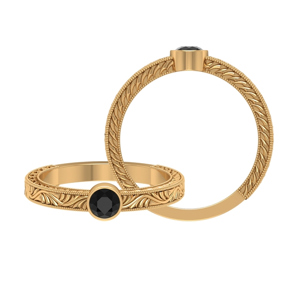 4 MM Round Shape Black Diamond Solitaire Ring in Bezel Setting with Gold Milgrain Engraved Details