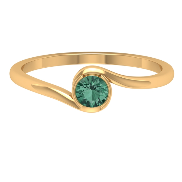 September Birthstone 0.25 CT Green Sapphire Solitaire Bypass Gold Ring