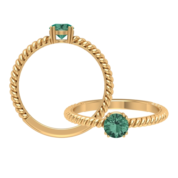 September Birthstone 0.75 CT Green Sapphire Solitaire and Gold Twisted Rope Band Ring