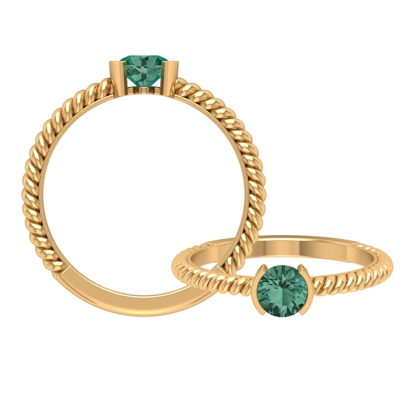 September Birthstone 0.75 CT Half Bezel Set Green Sapphire Solitaire and Gold Twisted Rope Band Ring