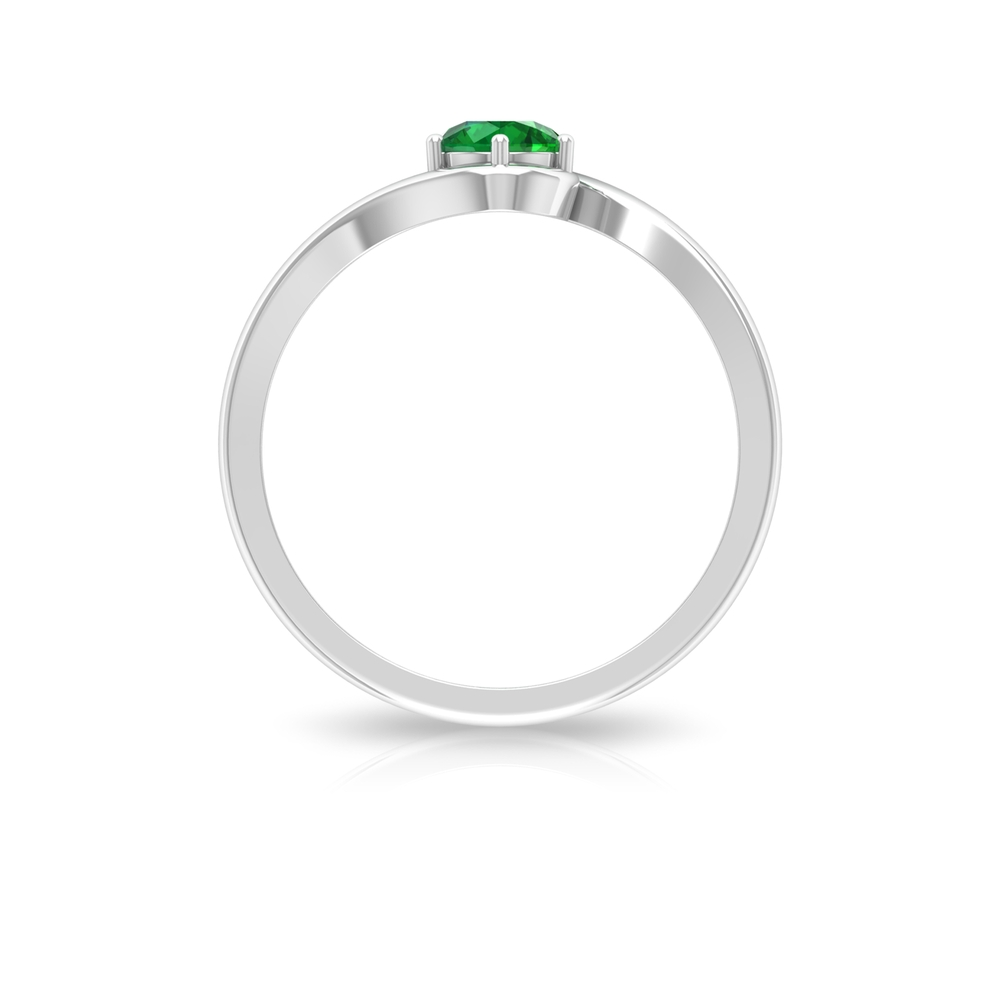 May Birthstone 5 MM Emerald Solitaire Ring in 6 Prong Setting with Bypass Shank