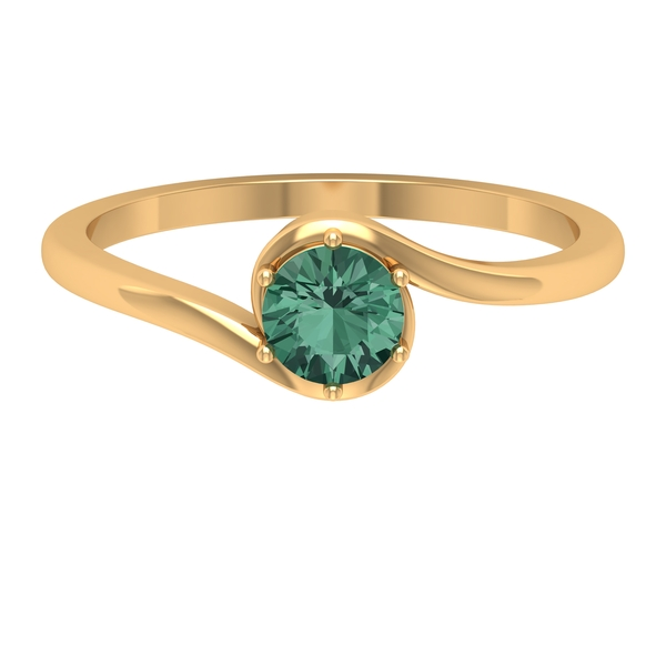 September Birthstone 0.75 CT Green Sapphire Solitaire Bypass Gold Ring