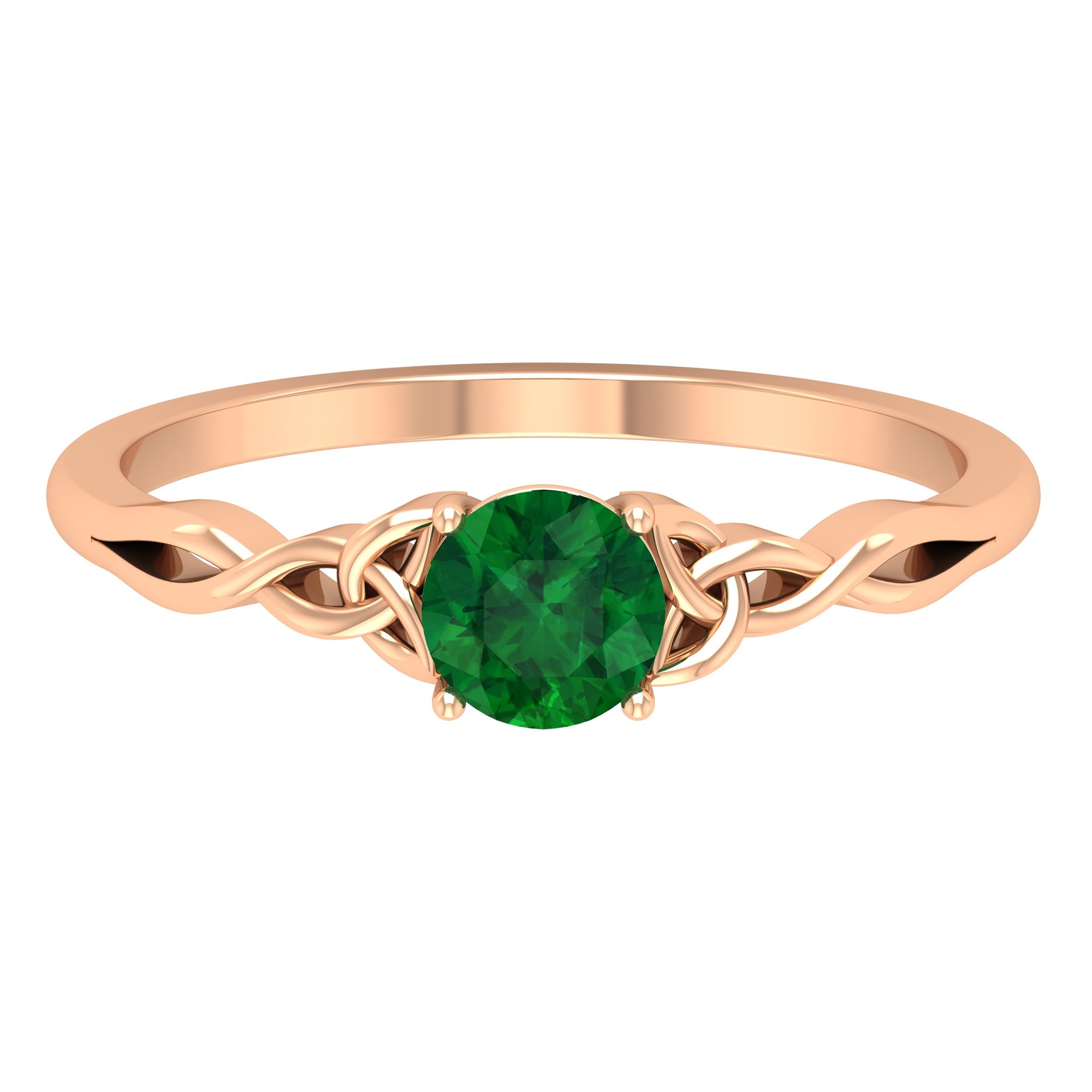 5 MM Round Shape Emerald Solitaire Ring in Four Prong Setting with Celtic Shank