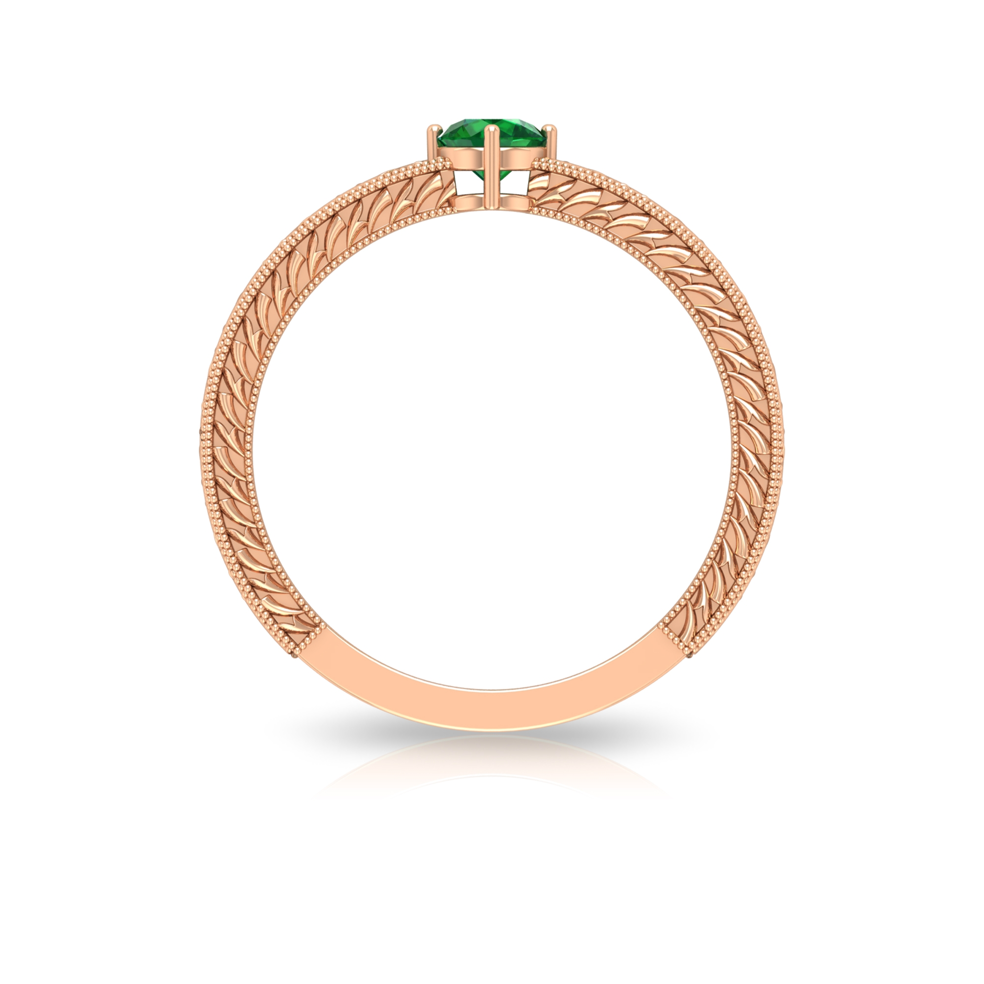 4 MM Round Emerald Solitaire and Gold Engraved Ring in 4 Prong Diagonal Setting