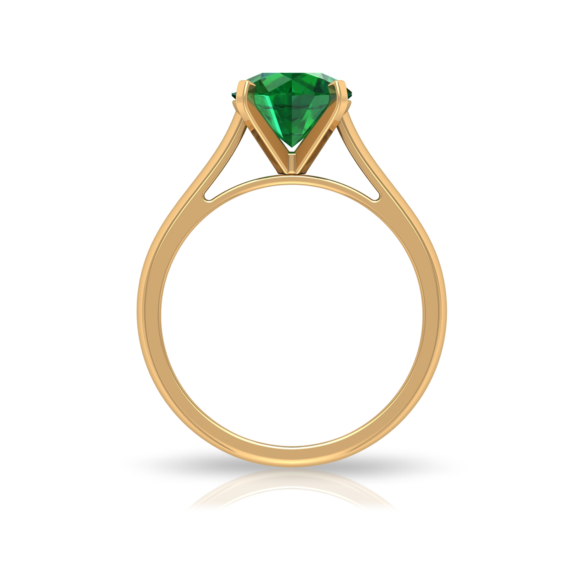 8 MM Four Prong Peg Head Set Round Cut Emerald Solitaire Cathedral Ring