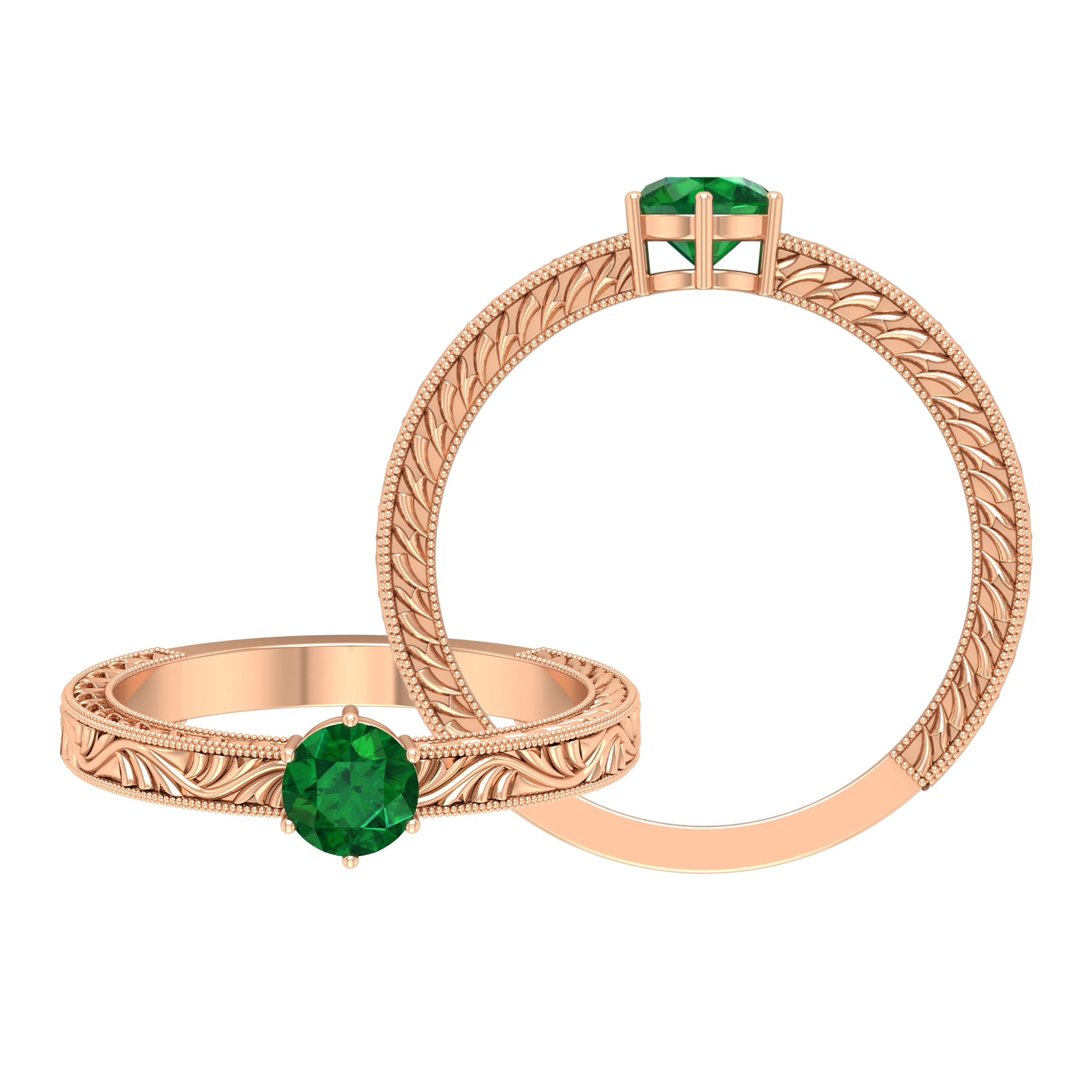 5 MM Round Emerald Solitaire and Gold Engraved Ring in 6 Prong Setting