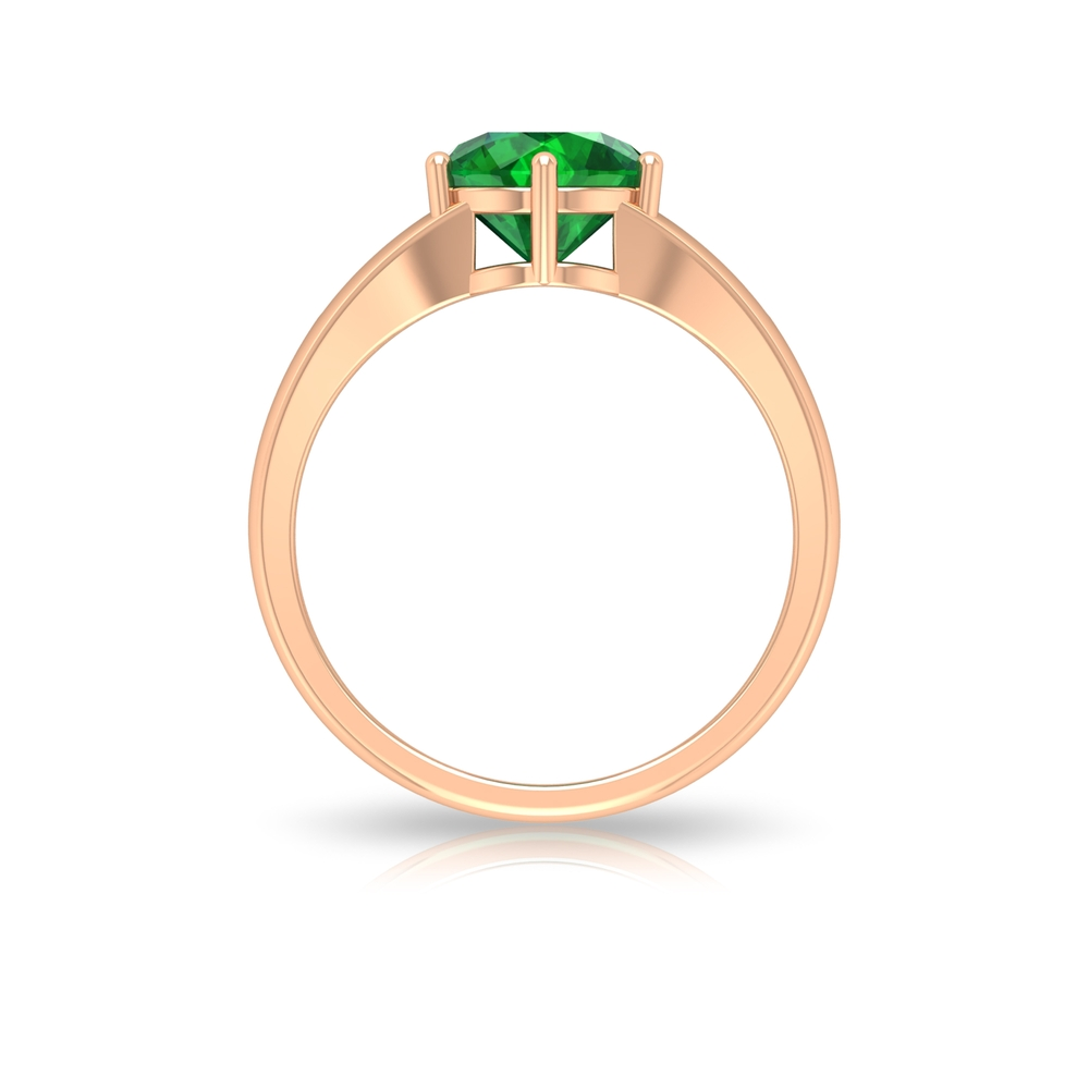 8 MM Six Prong Set Round Cut Emerald Solitaire Split Shank Ring