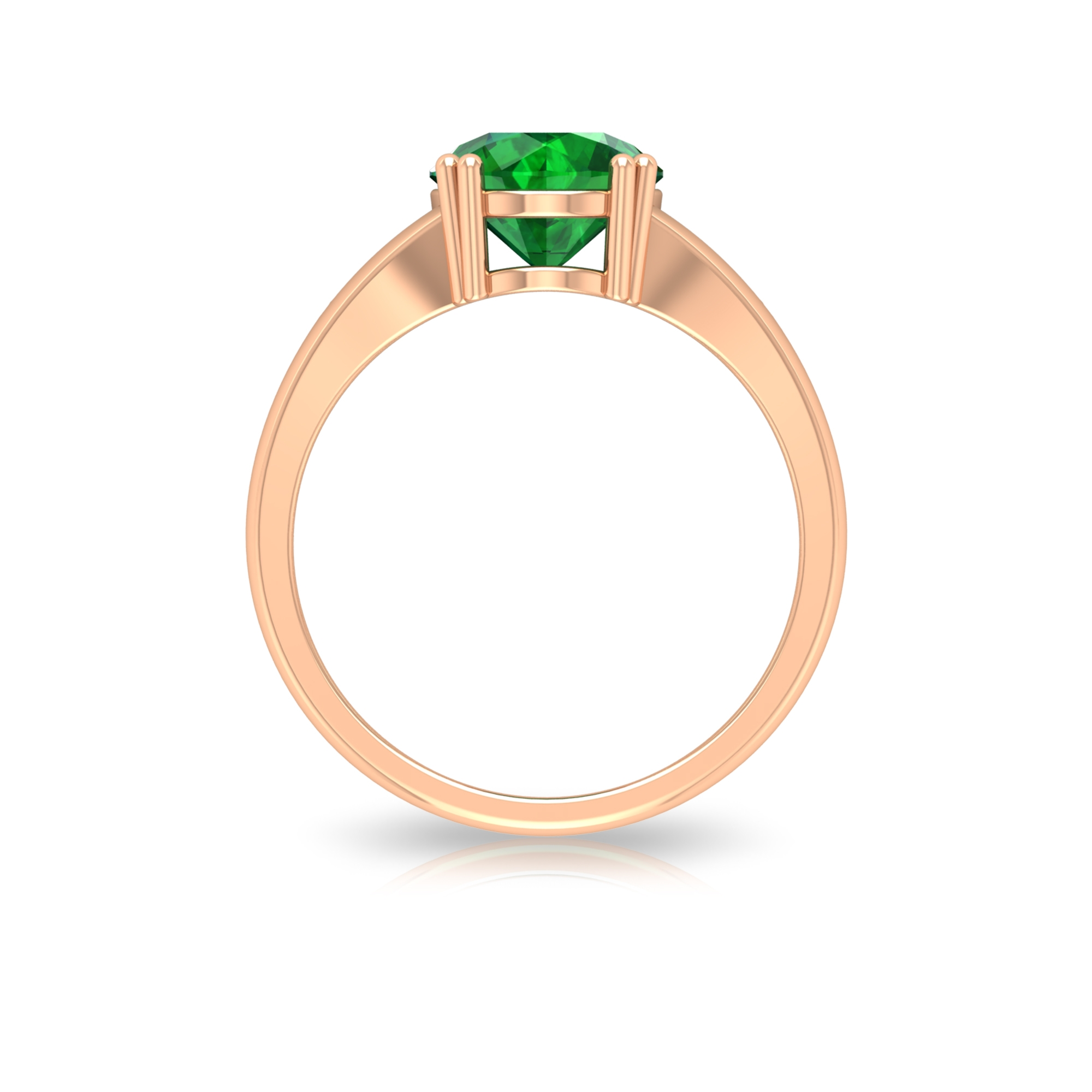 May Birthstone 8 MM Double Prong Set Round Cut Emerald Solitaire Split Shank Ring