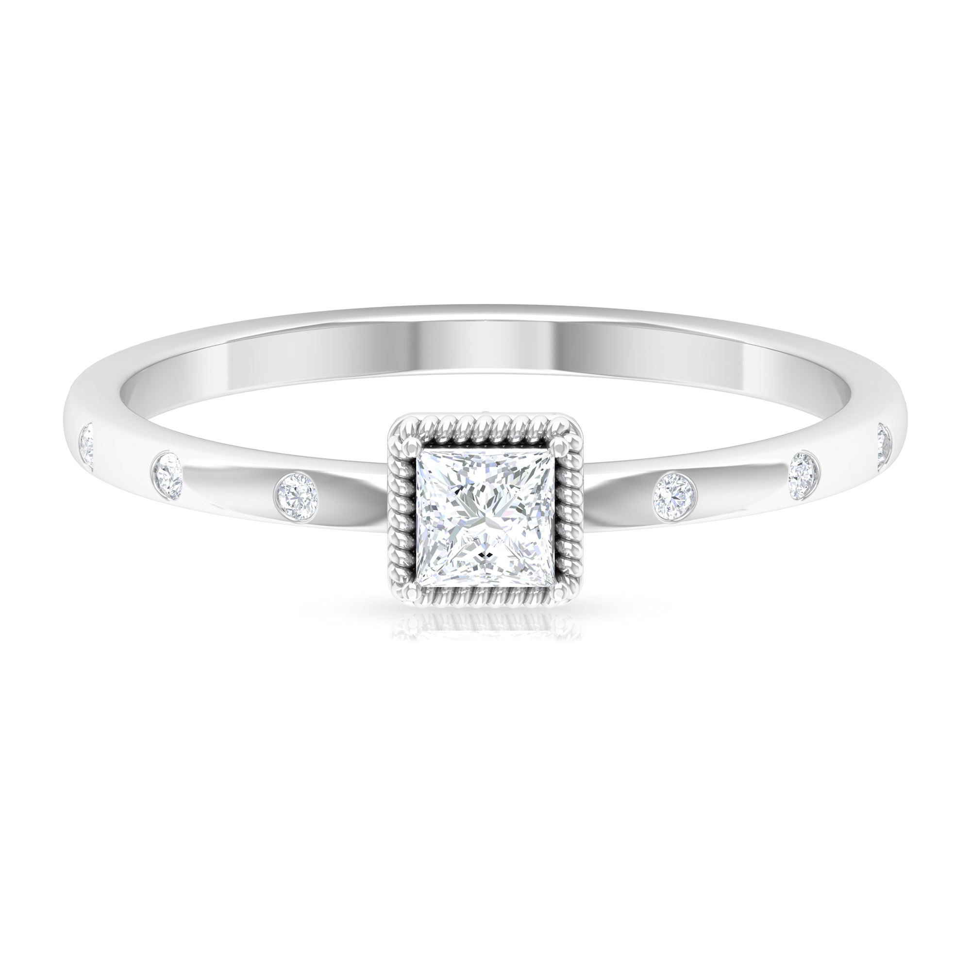 1/4 CT Rope Frame Princess Cut Diamond Solitaire Ring with Sleek Accent Side Stone