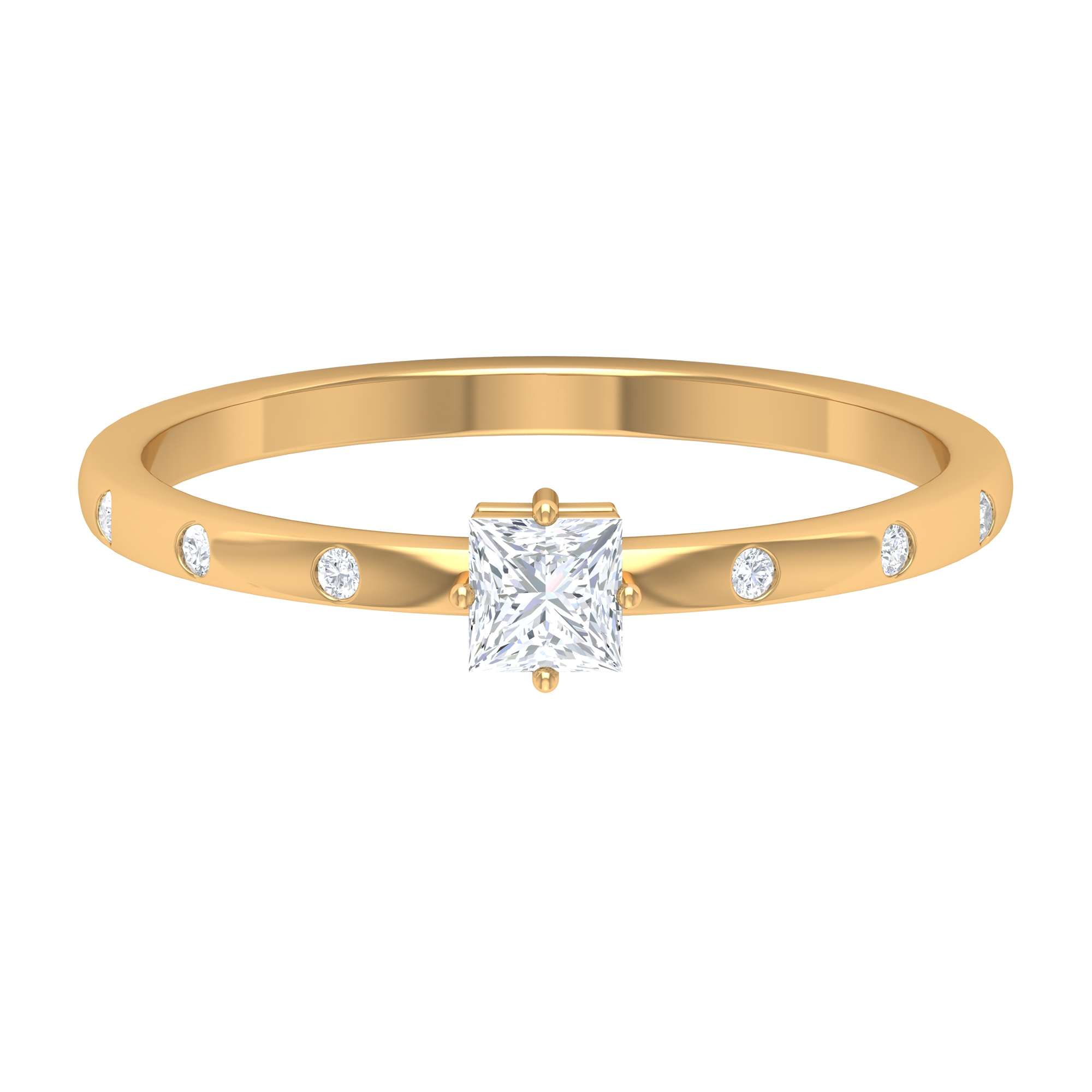April Birthstone 1/4 CT Four Prong Diagonal Set Princess Cut Diamond Solitaire Ring with Sleek Accent Side Stones