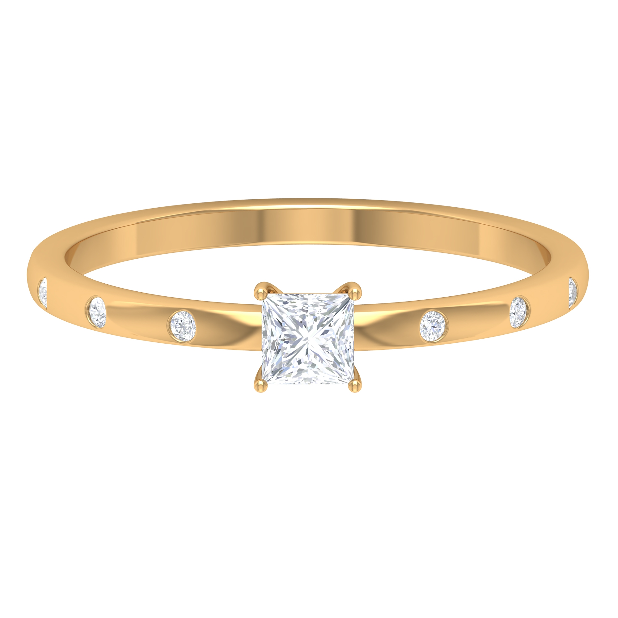 April Birthstone 1/4 CT Basket Set Princess Cut Diamond Solitaire Ring with Sleek Accent Side Stones