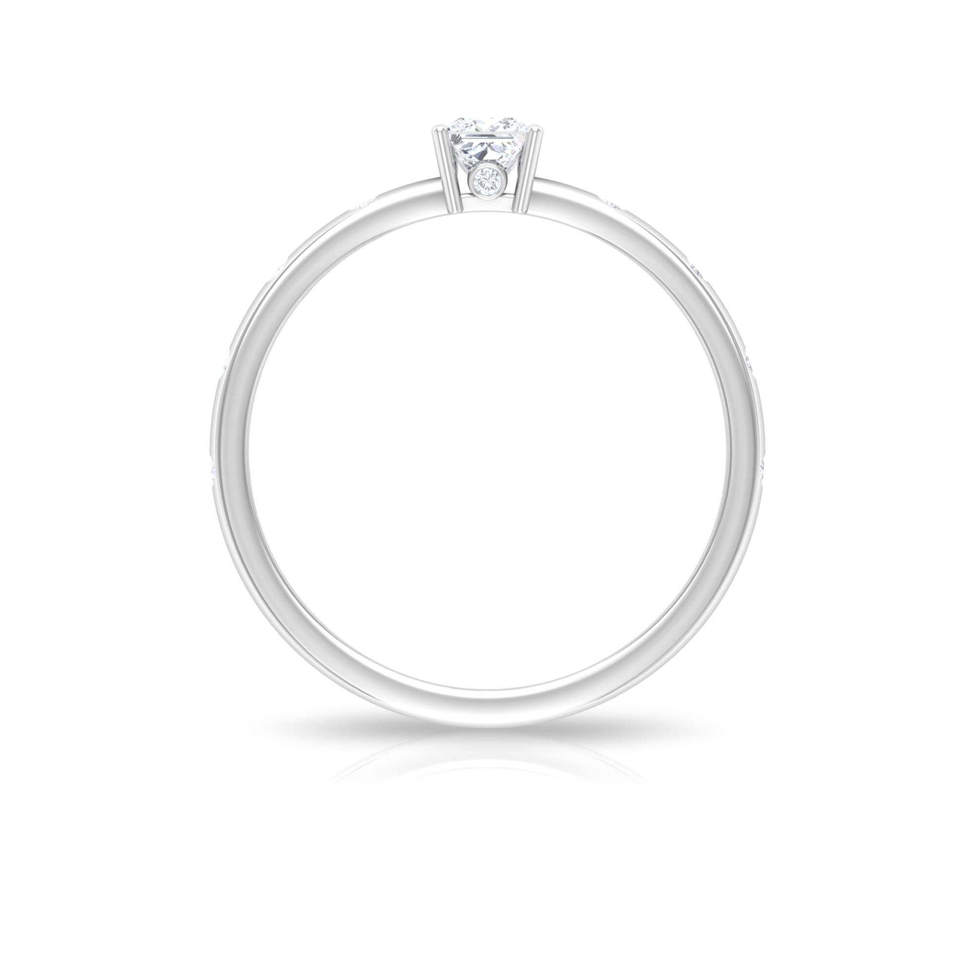 1/4 CT Princess Cut Solitaire and Surprise Diamond Ring with Sleek Accent Side Stones