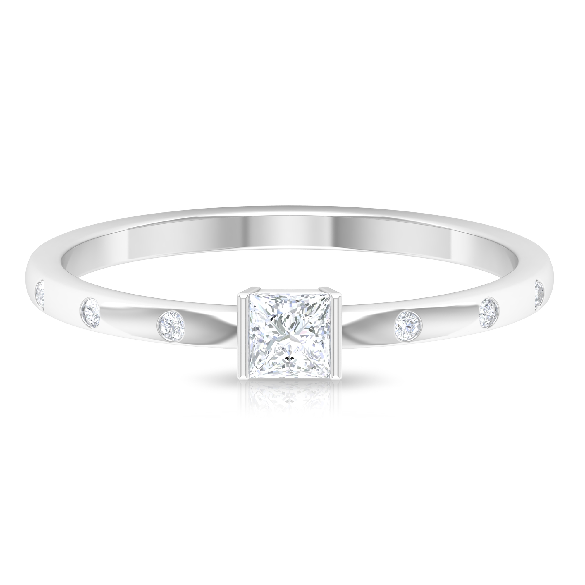 April Birthstone 1/4 CT Bar Set Princess Cut Diamond Solitaire Ring with Sleek Accent Side Stones