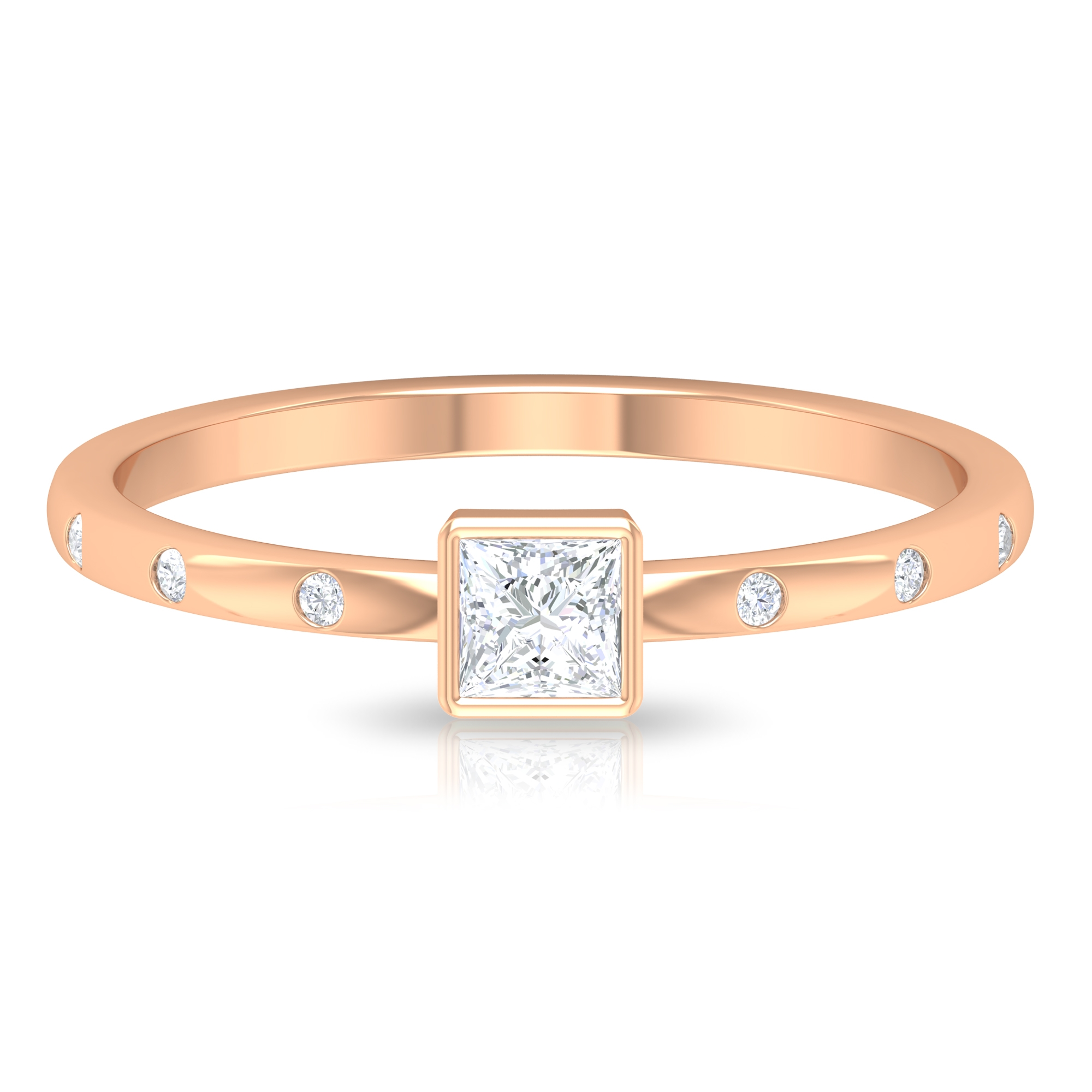 1/4 CT Bezel Set Princess Cut Diamond Solitaire Ring with Sleek Accent Side Stones