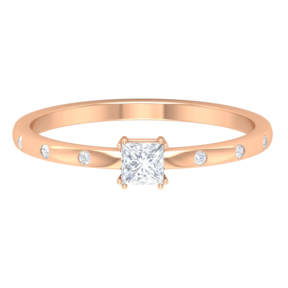 April Birthstone 1/4 CT Double Prong Set Princess Cut Diamond Solitaire Ring with Sleek Accent Side Stones