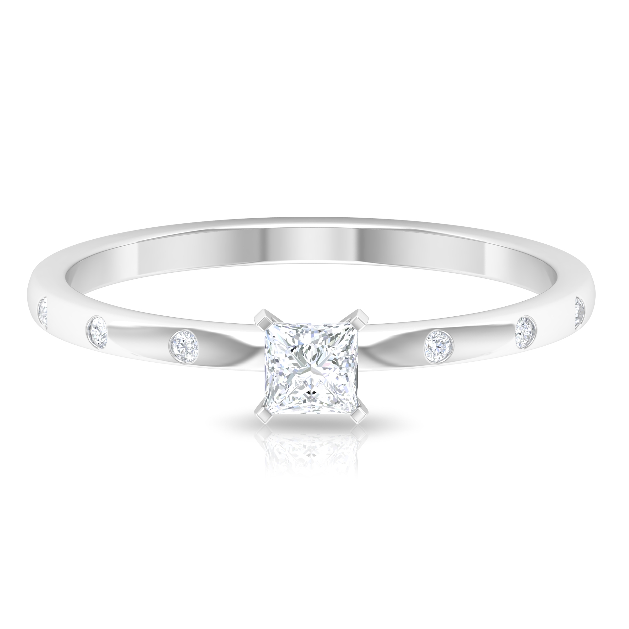 April Birthstone 1/4 CT Peg Head Set Princess Cut Diamond Solitaire Ring with Sleek Accent Side Stones
